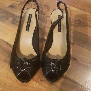 Bandolino Sze 8.5 M Black Open Toe Slingback Heels